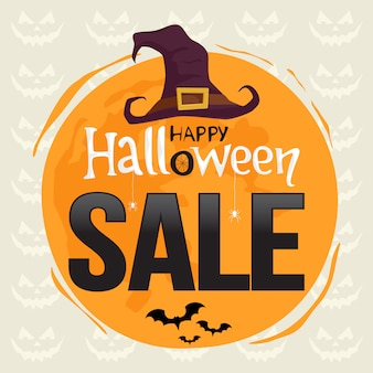Banner de venta de halloween con decoración de halloween