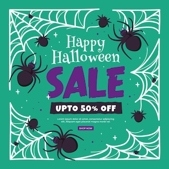 Banner de venta de halloween dibujado a mano con arañas