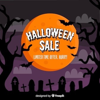 Banner de venta de halloween dibujado a mano