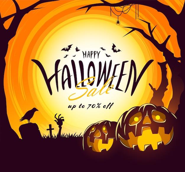Banner de venta de halloween con diseño de letras y pumkpin, mano zombie, araña
