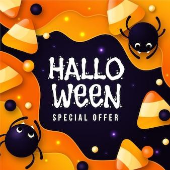 Banner de venta de halloween de diseño plano con arañas