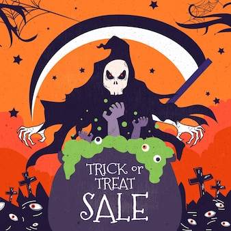 Banner de venta de halloween de diseño plano