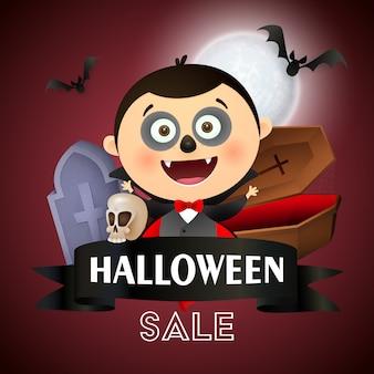 Banner de venta de halloween con drácula, ataúd, tumba y murciélago