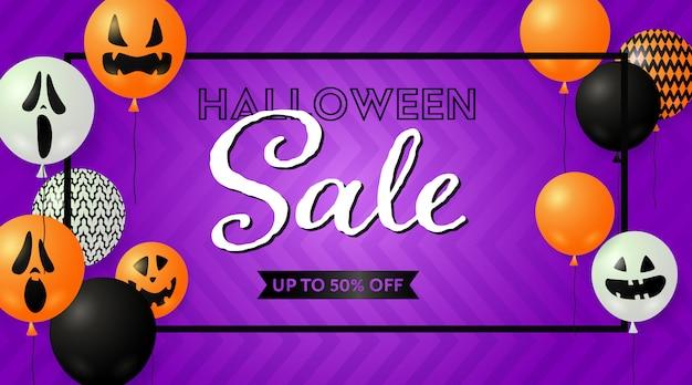Banner de venta de halloween con globos espeluznantes