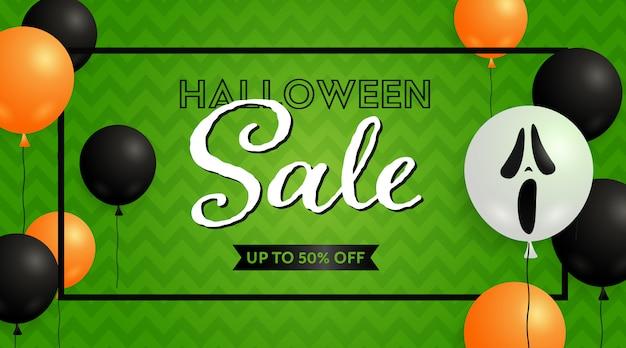 Banner de venta de halloween y globos de fantasmas