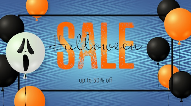 Banner de venta de halloween con globos de miedo