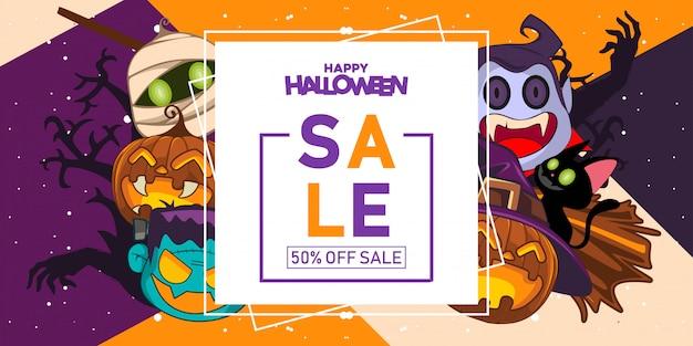 Banner de venta de halloween con ilustración de disfraces de halloween