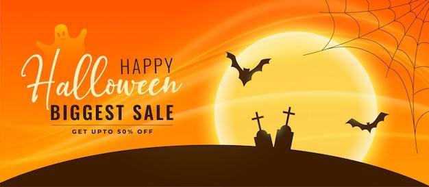 Banner de venta de halloween con murciélagos y cementerio voladores