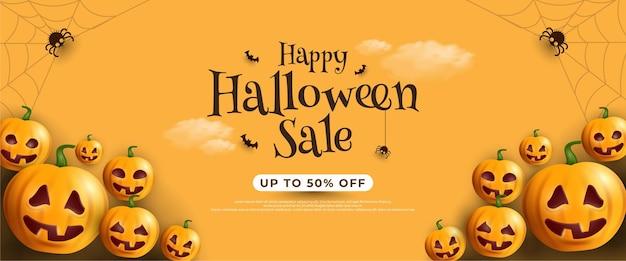 Banner de venta de halloween con murciélagos y linternas de calabaza sobre un fondo amarillo