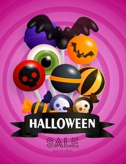 Banner de venta de halloween y piruletas