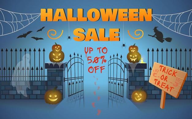 Banner de venta de halloween con puerta, calabazas, una bruja en una escoba, arañas y un fantasma. ilustración de vector de estilo de dibujos animados.