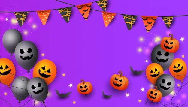 Banner de venta de halloween con símbolos de calabaza, guirnaldas de colores y dulces