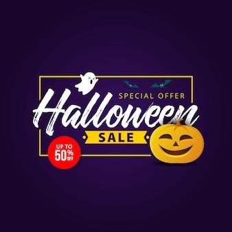 Banner de venta de halloween con símbolos de vacaciones calabaza y fantasma