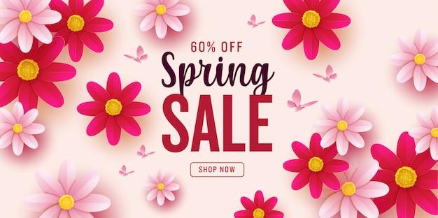 Banner de venta hermosa primavera con flores de colores.
