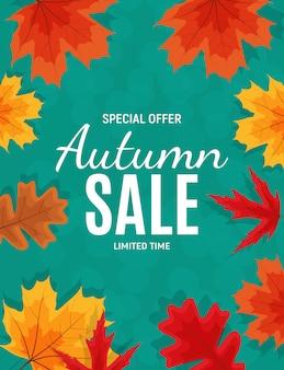 Banner de venta de hojas de otoño brillante. tarjeta de descuento comercial.