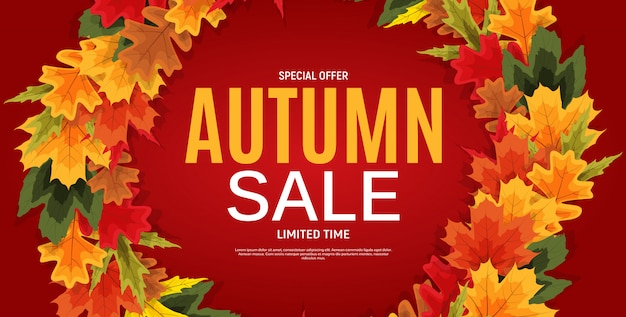 Banner de venta de hojas de otoño brillante