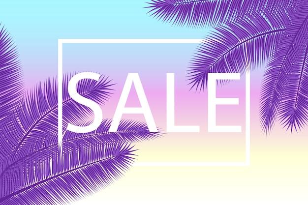 Banner de venta con hojas de palma. fondo floral tropical ultra violeta. ilustración. ventas calientes de verano. eps 10.
