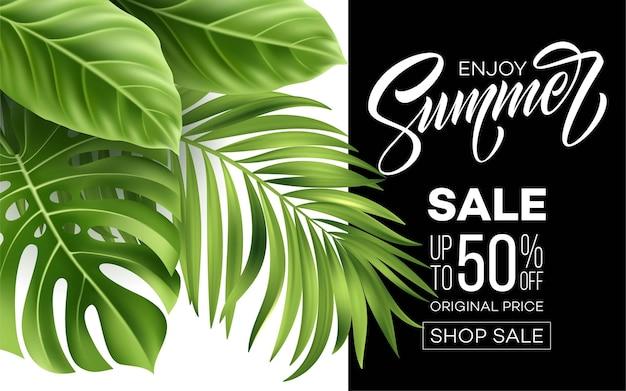 Banner de venta con hojas de palmera, hojas de selva y letras escritas a mano.