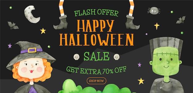 Banner de venta horizontal de halloween en acuarela