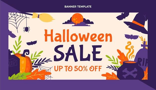 Banner de venta horizontal de halloween plano dibujado a mano