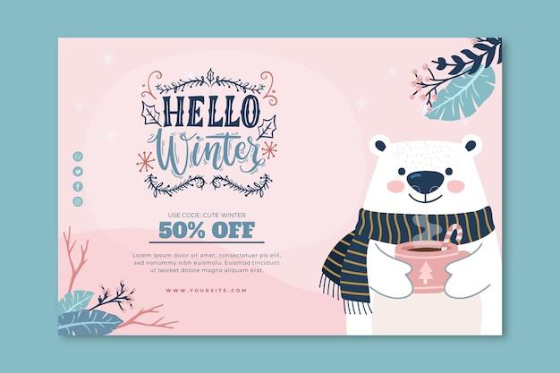 Banner de venta horizontal para invierno con oso polar.