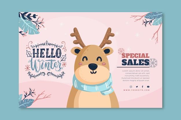 Banner de venta horizontal para invierno con renos.