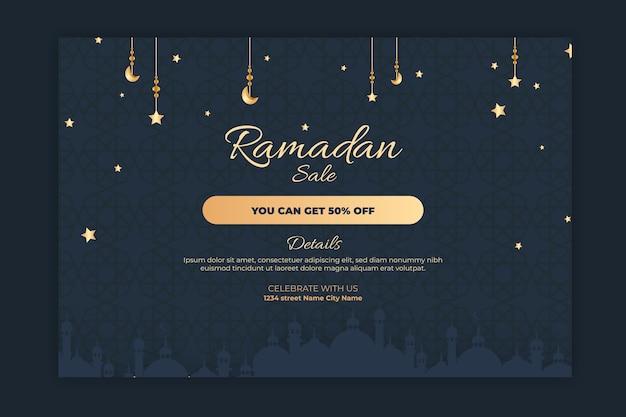 Banner de venta horizontal de ramadán