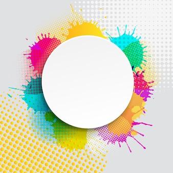 Banner de venta con ilustración de manchas coloridas