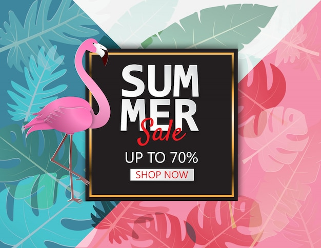 Banner de venta de ilustración de verano creativo