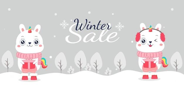 Banner de venta de invierno de dibujos animados lindo conejo unicornio para navidad