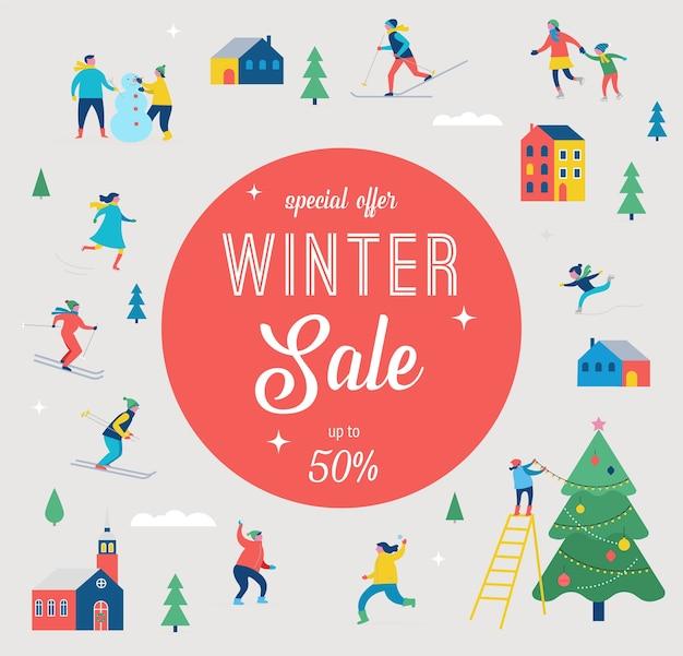 Banner de venta de invierno, diseño de promoción con personas, familia hace deporte de invierno
