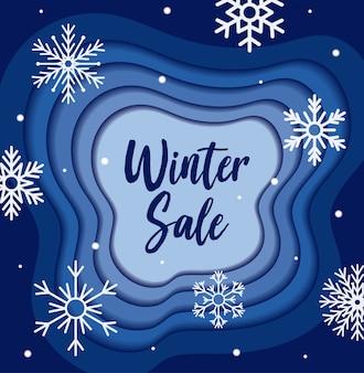 Banner de venta de invierno con diseño de vector de copos de nieve