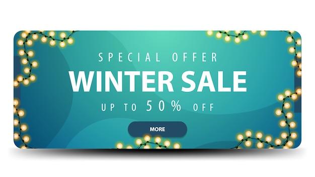 Banner de venta de invierno con guirnalda de luz