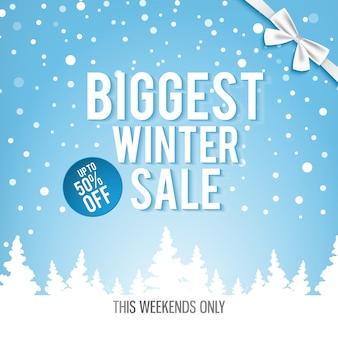 Banner de venta de invierno más grande de navidad con palabras blancas sobre los mejores descuentos
