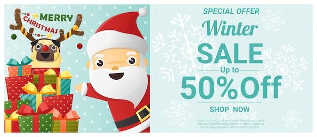 Banner de venta de invierno de navidad con santa claus