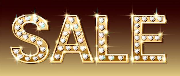 Banner de venta, letras de oro y diamantes brillantes en forma de corazón.