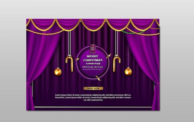 Banner de venta de lujo feliz navidad y año nuevo
