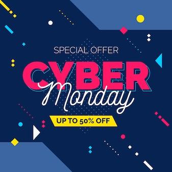 Banner de venta de lunes cibernético de diseño plano