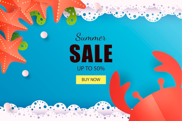Banner de venta de mar de verano