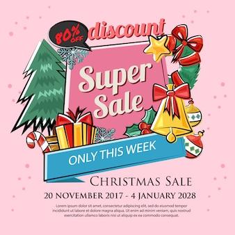 Banner de venta de mercado de descuento de navidad
