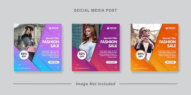 Banner de venta de moda o folleto cuadrado para plantilla de publicación de redes sociales