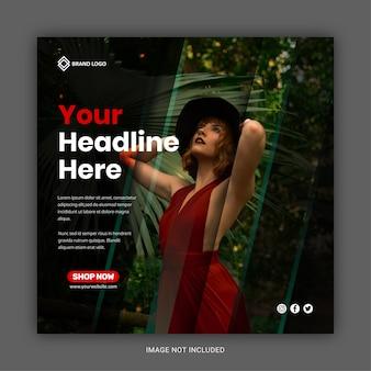 Banner de venta de moda de volante cuadrado para plantilla de publicación de redes sociales