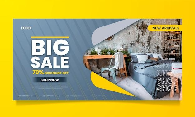 Banner de venta de muebles degradados con foto.