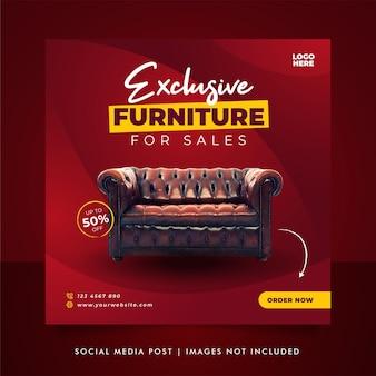 Banner de venta de muebles de lujo o plantilla de publicación en redes sociales