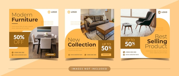 Banner de venta de muebles modernos para publicación en redes sociales y marketing digital.