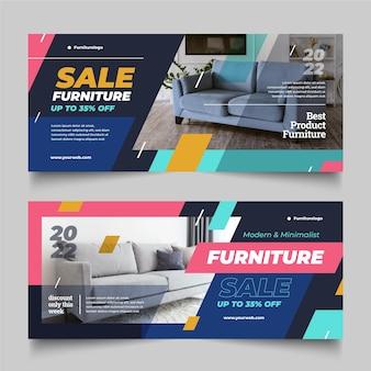 Banner de venta de muebles planos con foto.