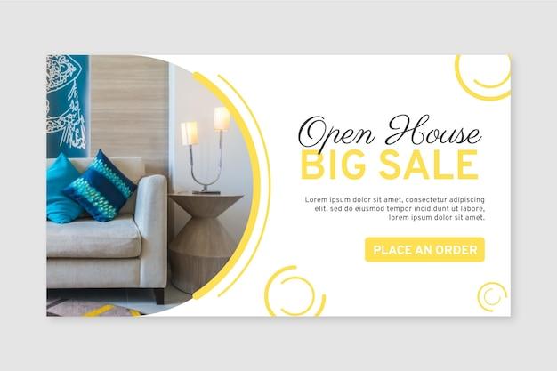 Banner de venta de muebles planos orgánicos con foto.