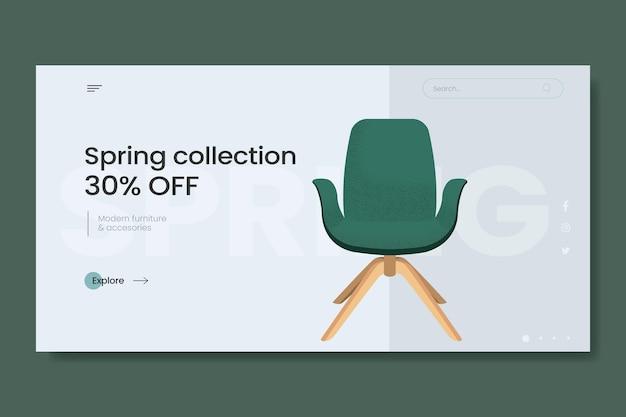 Banner de venta de muebles planos orgánicos