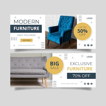 Banner de venta de muebles planos
