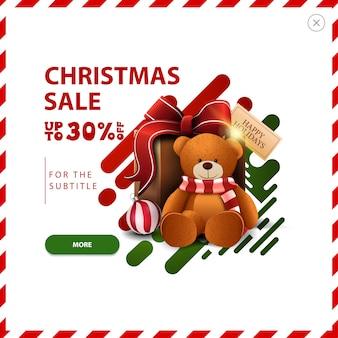 Banner de venta de navidad, hasta 30% de descuento, descuento rojo y verde emergente con formas líquidas abstractas y presente con oso de peluche